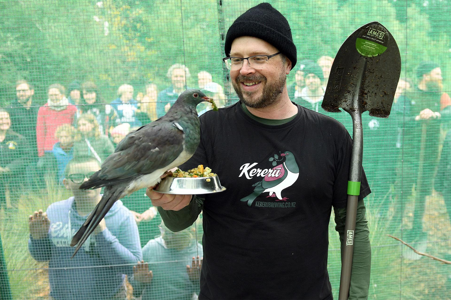 Chris and the Kereru bird